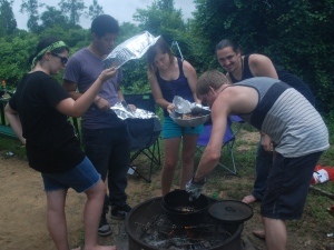 Meatball Monday - the camp chef with his support team!